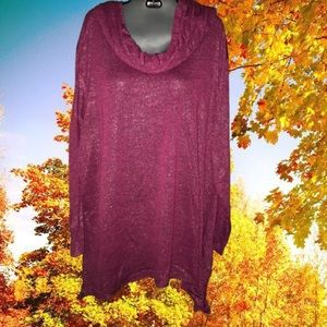 Jeweled toned cowl-neck plus size shirt 26w 28w